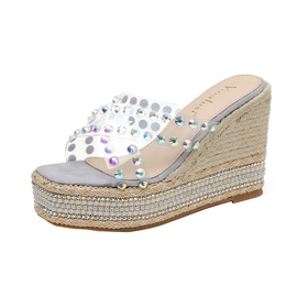 Clear Diamonds Decor Wedge Sandals NSHU48044