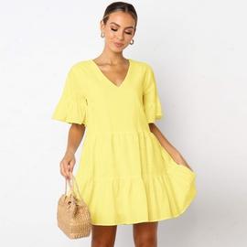 Cotton Solid Color Short-sleeved Dress NSSE48173