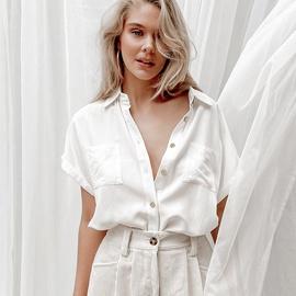 Simple Loose Lapel Sleeveless Shirt   NSYSB48179
