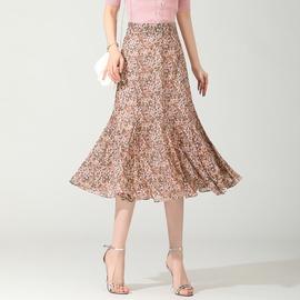 Printed High-waisted Chiffon Skirt  NSYZ48183