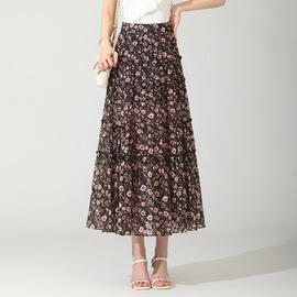 High Waist Loose Floral Chiffon Long Skirt   NSYZ48184