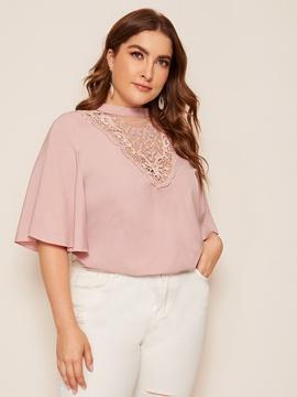 Plus Size Lace Neck Short Sleeve Tee NSCX48191