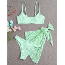 Green Leopard Printed Bikini Swimsuit Three Piece Set NSHL48215