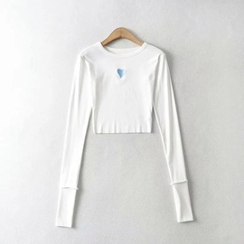 Heart Embroidery Stretch Long-sleeved Top NSHS48219