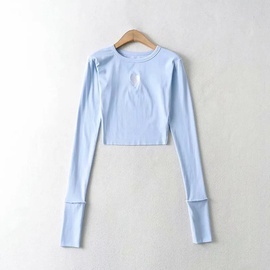 Heart Embroidered Round Neck Elastic Bottoming Shirt   NSHS48220