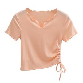 Petal Collar Drawstring Short-sleeved T-shirt NSHS48223