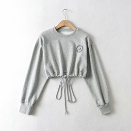 Round Neck Letter Embroidery Drawstring Sweatershirt NSHS48225
