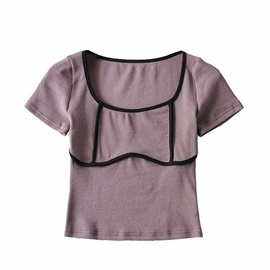 Round Neck Color Matching Short-sleeved T-shirt NSHS48226