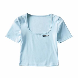 Pure Color Square Collar Short T-shirt NSHS48227
