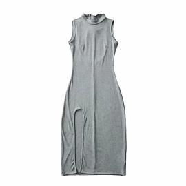 Stand-up Collar Solid Color Sleeveless Dress  NSHS48229