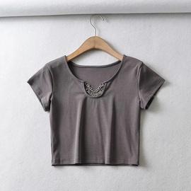 Sexy Chain Decor Short-sleeved T-shirt NSHS48235