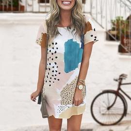 Leopard Print Hit Color Short-sleeved Dress   NSSI48240