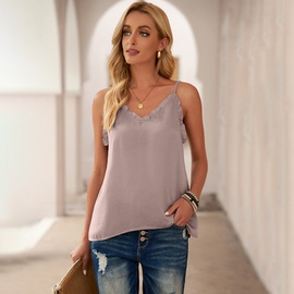Summer New Solid Color Ruffled V-neck Blouse NSSI48244