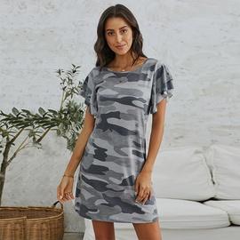 Round Neck Ruffle Short Sleeve Camouflage Dress   NSSI48246