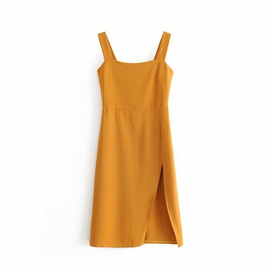 Retro Wide Sling Stretch Waist Split Dress  NSAM48253