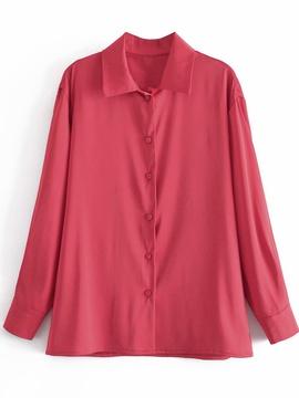 Silk Satin Texture Loose Long-sleeved Shirt  NSAM48254