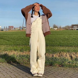 Retro Solid Color Denim Overalls NSLQ48257