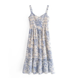 Retro Printing Ruffle Stitching Dress NSAC48265