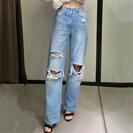 Ripped Wide-leg Loose Denim Pants NSAC48268