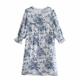 Retro Printed Round Neck Loose Dress  NSAM48296