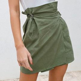 Green Drawstring High Waist Irregular Skirt NSYSB48299