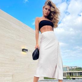 Satin High Waist Sexy Split Long Skirt NSYSB48301