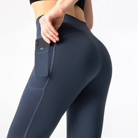 Wideband Waist Sports Leggings With Phone Pocket NSJO48323