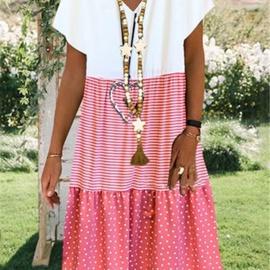 Fashion Printed V-Neck Short Sleeve Dress NSAXE48336