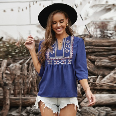 Summer New Embroidery Deep V-neck Shirt NSSI48503