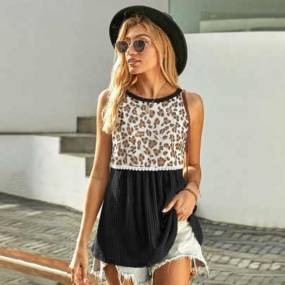 Summer Leopard Print Lace Top NSSI48508