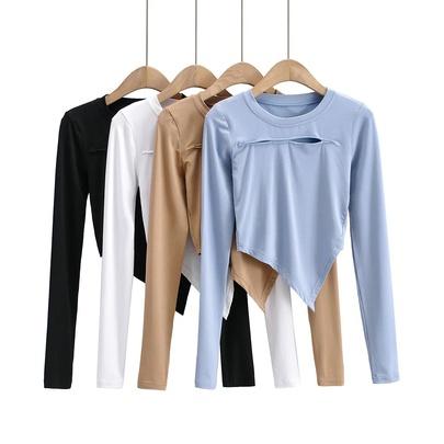 Sexy Spring And Autumn Elastic Irregular Shirt NSHS48523