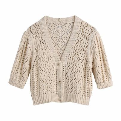 V-neck Hollow Short Sleeve Knit Sweater NSAM48548