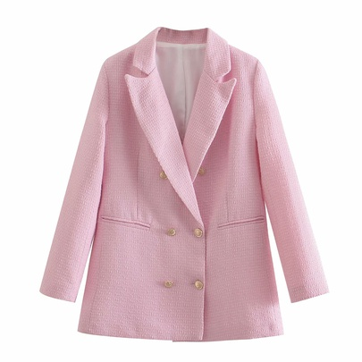 Pink Double Buttons Long Sleeve Blazer NSAM48572
