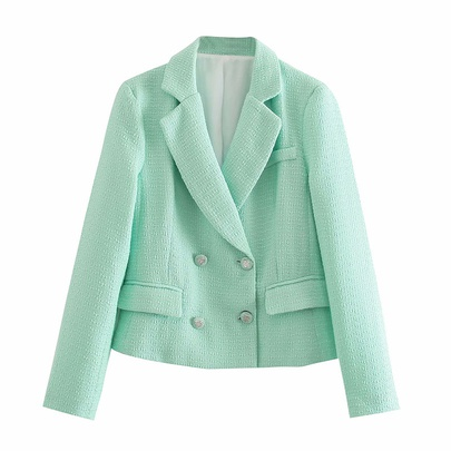 Fashion Texture Double-breasted Crop Blazer NSAM48574
