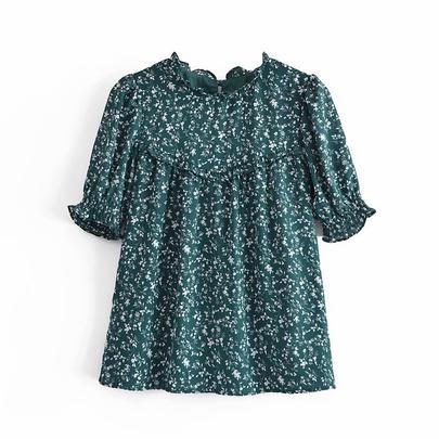 Frill Trim Floral Printed Chiffon Shirt NSAM48583