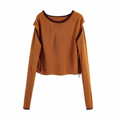 Fashion Side Cut Long Sleeve Sweater NSAM48599