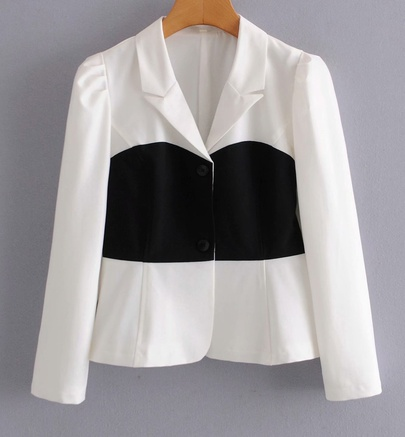 Retro Stitching Color Button Front Blazer NSAM45464