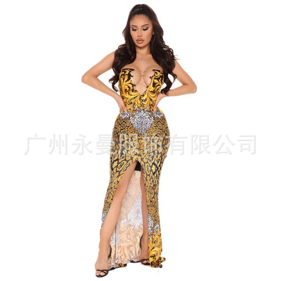 Summer New Fashion Sexy Wrapped Chest Printing Sleeveless Dress NSYMA55682