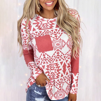 Casual Stitching Printed Long-sleeved Pocket T-shirt NSZH55699