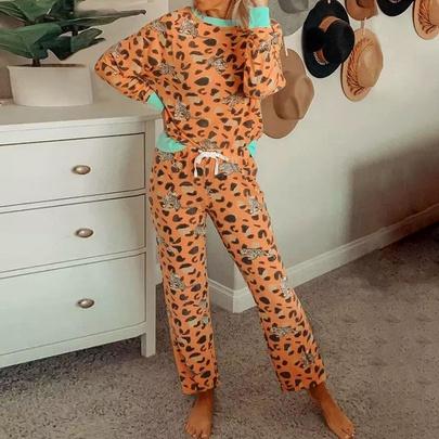 Leopard Print Long-sleeved Tops & Pants Casual Pajamas  NSZH55701
