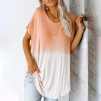 Casual Gradient Color Printing V-neck Short-sleeved Mid-length T-shirt NSZH55702