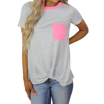 Casual Stripes Printed Short-sleeved Round Neck Pocket T-shirt NSZH55707