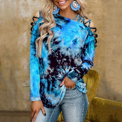 Casual Tie-dye Printing Long-sleeved Strapless Sexy T-shirt NSZH55708