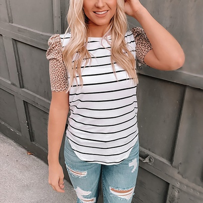 Casual Striped Leopard Print Short-sleeved T-shirt  NSZH55709