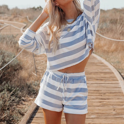 Stripes Print Round Neck Long-sleeved Casual Home Wear Pajamas NSZH55711