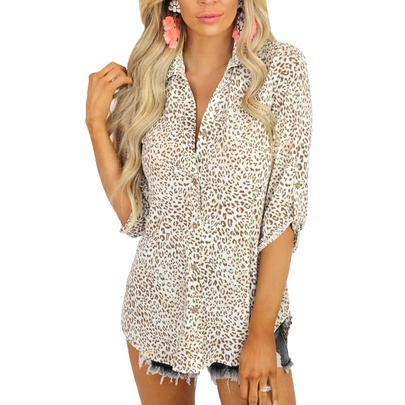 Casual Leopard Print Long-sleeved Cardigan Loose Lapel Shirt NSZH55714