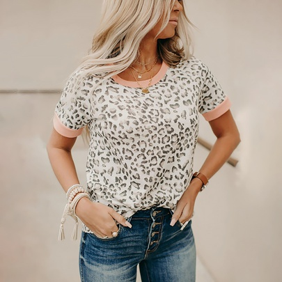 Casual Leopard Print Hit Color Round Neck Short-sleeved T-shirt  NSZH55715