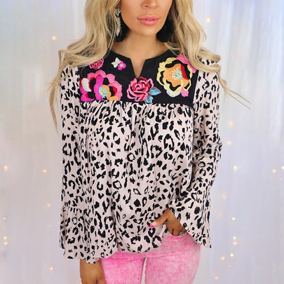 Casual Leopard Print Stitching Long-sleeved Loose Shirt NSZH55716