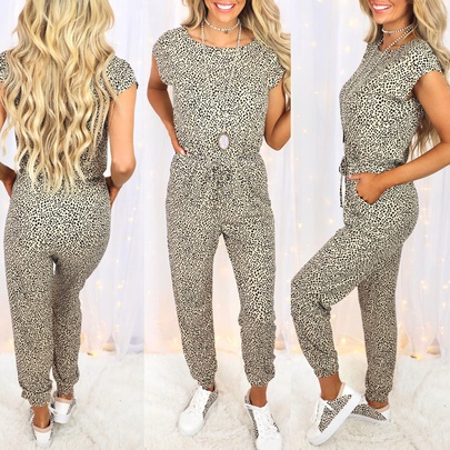Summer New Style Leopard Print Short-sleeved Round Neck Casual Jumpsuit  NSZH55718