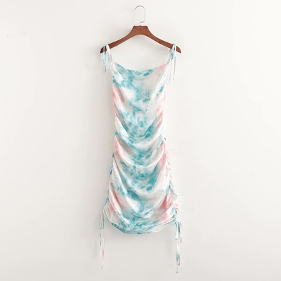 Wholesale Spring Tie-dye Drawstring Suspender Dress NSAM55725